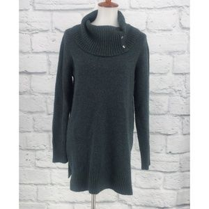 Adrienne Vittadini Teal Cowl Neck Tunic Sweater
